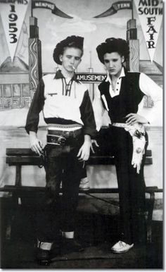 """Elvis and his cousin Junior. Elvis A. Presley (January 8, 1935 – August 16, 1977) - American singer, musician, and actor, known commonly as """"The King of Rock and Roll"""" or simply """"The King""""...."""