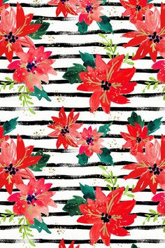 Poinsettia Stripes by crystal_walen - Hand painted poinsettia flowers on black stripes on fabric, wallpaper, and gift wrap.  Bold red flowers with emerald leaves on a painterly black and white striped background.