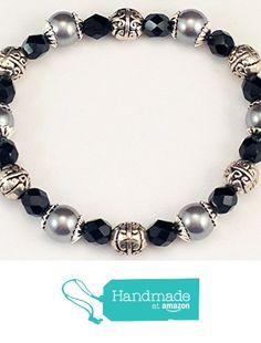 Stretch Bracelets, Link Bracelets, Beaded Bracelets, Grey Glass, Czech Glass, Pearls, Amazon, Handmade, Black