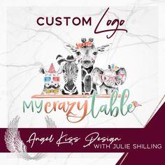 Custom Safari Animal logo for My Crazy Table Family Logo, Angel Kisses, Elephant Family, Safari Animals, My Crazy, Animal Logo, Marketing Materials, Business Logo, Custom Logos