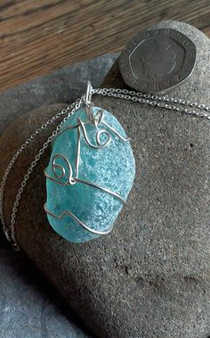Blue Sea Glass, Sterling Silver Wire-wrapped Pendant on 18 inch Sterling Silver Chain by LazyDaisyGB on Etsy