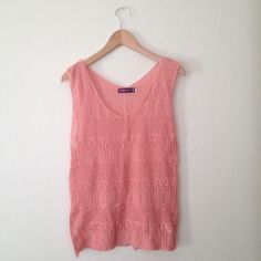 Pink Crochet Knit Sleeveless Top This top is super soft and is so cute! This is a loose knit to that looks great with a cami underneath and tucked into a skirt.  I'm in love with the beautiful blush pink color.  One size fits most.  Bundle and save anywhere between 10-40% off! Just ask!  Feel free to make an offer! Tops