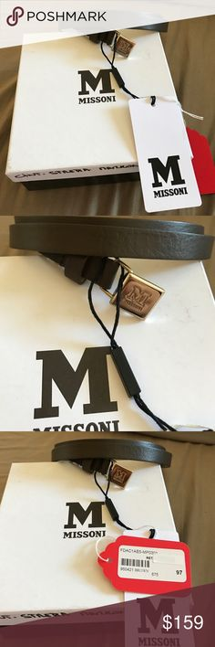 NWT Missoni taupe leather belt with box. Missoni brown (taupe) leather belt with gold tone M emblem. New with tags and original packaging. Size reads 97/48 inside the belt. Missoni Accessories Belts