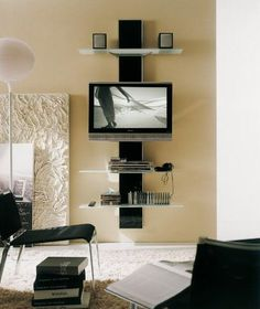 living room wall mounted tv idea for making shelving unit for mounted tv to help hide cords