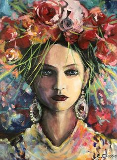 🔴 Goddess of Inspiration – Eibhilin Crossan Abstract Faces, Abstract Portrait, Portrait Art, Frida E Diego, Figurative Kunst, Painting People, People Art, Claude Monet, Pablo Picasso