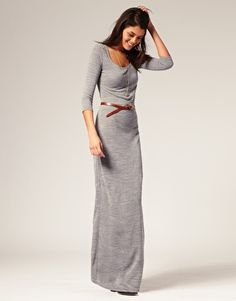 Long-sleeved maxi dress.