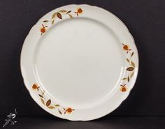 Dinner Plate Autumn Leaf Jewel Tea Superior Hall Dinnerware Gold Rim Mid Century Vintage Dinner Plate Orange Yellow Flowers Brown Tan Leaves by TheCordialMagpie from Etsy. Find it now at http://ift.tt/1OOgDps!
