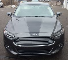 2016 Ford Fusion with Gloss Black with Single Racing Stripe on Hood, Roof & Trunk