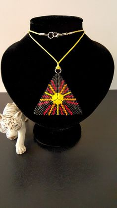 "Collier ""Soleil"" Collection ""Pyramides"" en tissage Peyote"