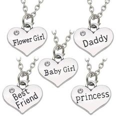 323c5a9c56d4d4 Daddy Best Friends Princess Baby Girl Flower Girl Charm Pendant Necklaces  Loveintothea Kawaii Accessories