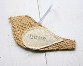 christmas ornament, burlap bird, JOY. easy to make.