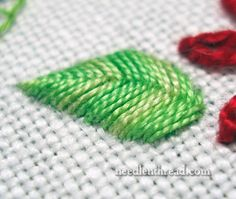 Raised Fishbone Stitch Leaf