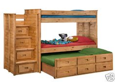 304a;3014t - Twin Triple Loft Bunk Bed - Includes Staircase