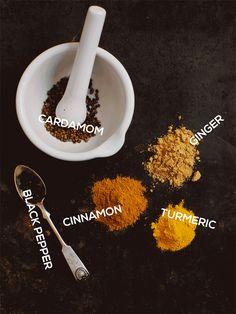 Spices. Cinnamon, Cardamom, Ginger, Turmeric and Black Peppar on leparfait.se Photo Ulrika Ekblom - Recipe Liselotte Forslin