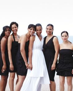 For this destination wedding in Miami, the bride let her bridesmaids wear black dresses of their choosing