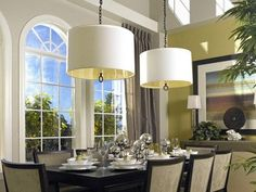 Traditional Dining Room with Arched window, Hooker furniture abbott place rectangle leg dining table, Dining table