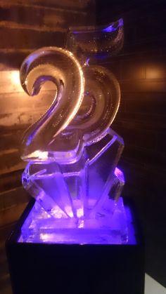 A Birthday Number 25 Ice Sculpture Incoporating Vodka Luge