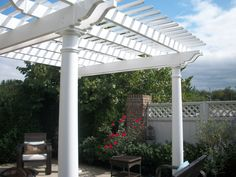 A beautiful place to relax! We built this pergola in less than a day as a birthday surprise! Vinyl Pergola, Beautiful Places, Relax, Outdoor Structures, Building, Birthday, Birthdays, Buildings, Construction