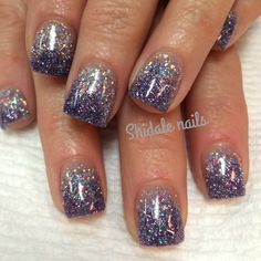 Short square acrylics. Glitter ombre nails. Shidale nails.
