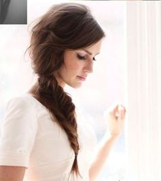 Messy ponytail with fishtail braid