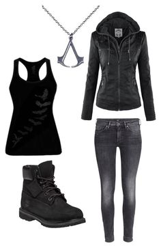 """"""""""" Lady Black """" (Nina's outfit - Frye twin)"""" by nyra-ami ❤ liked on Polyvore featuring Timberland and H&M"""