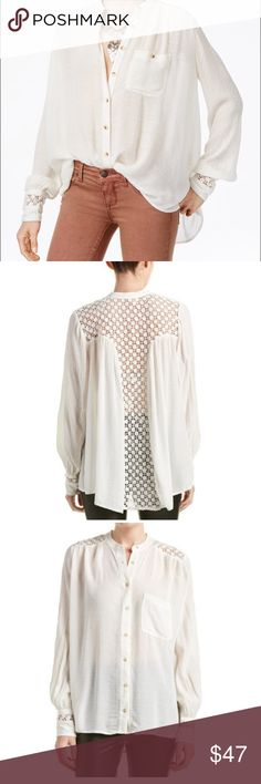 Free People Blouse | M Color/pattern: ivory | Approximately 26in from shoulder to hem | Measurement was taken from a size small and may vary slightly by size | Design details: sheer design, crochet paneling, left chest pocket, button cuffs, curved high-low hem with side slits at seam, shirred back |  Button front | Medium | New With Tags | BUNDLE 3+ ITEMS GET 15% OFF Free People Tops Blouses