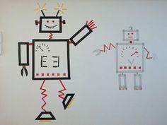 Washi-tape robots on the wall Washi Tape Wall, Masking Tape, Decoration, Kids Room, Artsy, Growing Tree, Cool Stuff, Holiday Decor, Robots