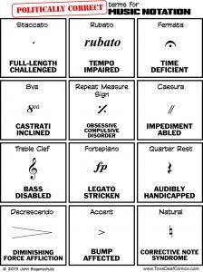 """Politically Correct Terms for Music Notation"" on Tone Deaf Comics"