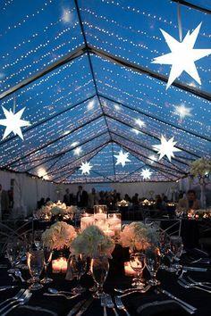 gorgeous starry night wedding reception inspiration