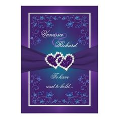 Purple Teal Floral Hearts FAUX Foil Wedding Invite This romantic and dramatic… Floral Wedding, Wedding Colors, Wedding Flowers, Peacock Wedding, Trendy Wedding, Peacock Theme, Unique Weddings, Wedding Bouquets, Purple Wedding Invitations