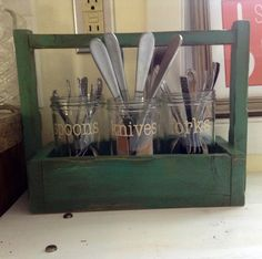 Primitive Green Silverware Caddy tool tray by ForgetThemNot, $36.00