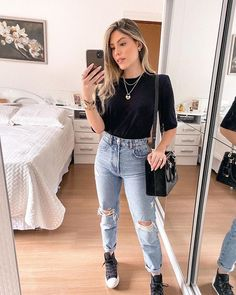 Basic Outfits, Stylish Outfits, Cool Outfits, Girl Fashion, Fashion Looks, Fashion Outfits, Casual Looks, Clothes, Style