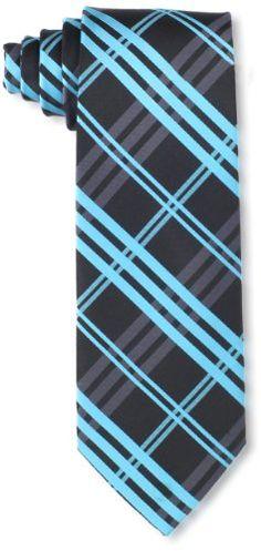 Little Black Tie Men's Plaid Necktie With Added Tie Bar, Aqua, One Size Little Black Tie