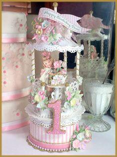 """Victorian Tea Party"" Birthday Cake Topper, Keepsake Box Image"