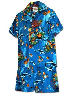 a6b5165e Pacific Legend Aquarium Blue Cotton Boys Hawaiian Cabana Set Tropical  Outfit, Aloha Shirt, Hawaiian
