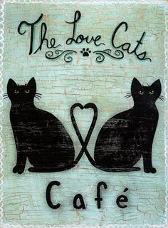 The Love Cats Cafe Original Folk Art Painting