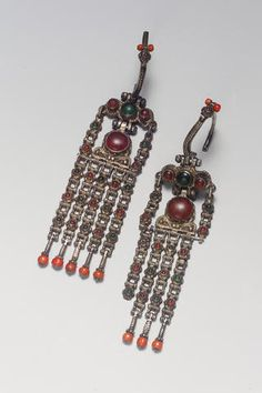 A pair of silver Ottoman Earrings Ottoman Turkey, 18th Century