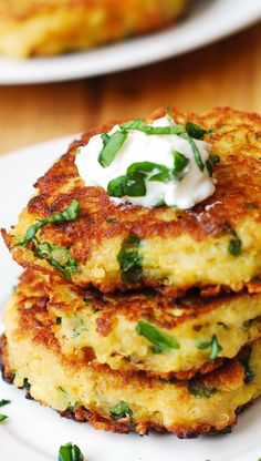 Spaghetti Squash, Quinoa, Spinach and Parmesan Fritters – delicious savory cakes! Kids love these! Serve with sour cream or Greek yogurt.
