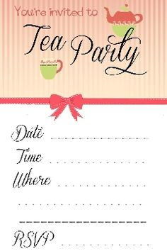 Tea party free printable | Party Ideas | Pinterest | Tea parties ...