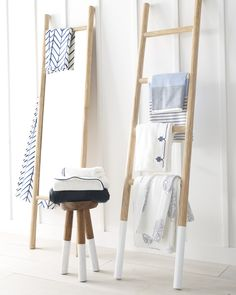 Made of water-resistant teak wood, this dip dyed ladder is perfect for the bathroom. Use it to showcase your beautiful towels or give height to a room. Coastal Rugs, Coastal Bedding, Coastal Living, Coastal Decor, Modern Coastal, Coastal Style, Window Treatments Living Room, Living Room Windows, Spa Like Bathroom