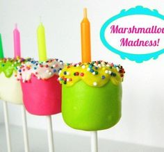neon marshmallow pops - try these on top of a birthday cake