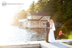 Wedding Portrait -Romantic sunsetting portrait of couple on a dock in Muskoka.