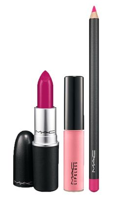 MAC lipstick- Girl About Town. MAC lipglass- Picture Pink. MAC lip pencil- Embrace Me.
