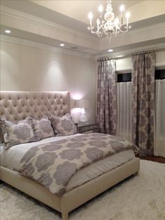 courtney cunningham design - custom master bedroom, visual comfort chandelier. new construction that doesn't feel too new.