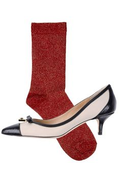 Dolce and Gabbana Pump, $575; yoox.com Opening Cermony Glitter Socks, $15; openingceremony.us