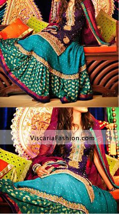 Multi Color Bridal Wear Gharara. I'm not looking to wear it or anything, I just think these are the perfect colors for my wedding.