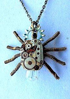 Steampunk Spider Necklace Vintage Watch by SteampunkEarthstones