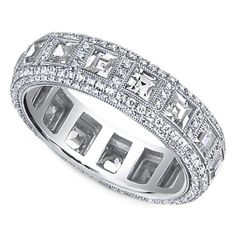 Vintage Square & Round Diamond Eternity Wedding Band- dear John- I want this someday!