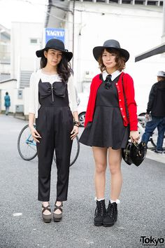 Kirin (17) and Mirebon (19) on the street in Harajuku wearing wide brim hats. Kirin's jumpsuit is by Cecil McBee and she's also wearing a quilted Chanel backpack. Mirebon is wearing a little black...