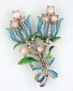 1940s-RARE-LARGE-CORO-ADOLF-KATZ-VINTAGE-COLLECTIBLE-BLUE-FLOWERS-PIN-BROOCH